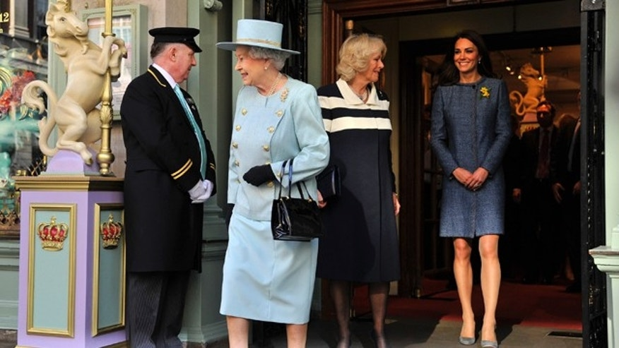 March 1: Britain's Queen Elizabeth, Camilla, Duchess of Cornwall and Catherine, Duchess of Cambridge leave the Fortnum and Mason store in central London.