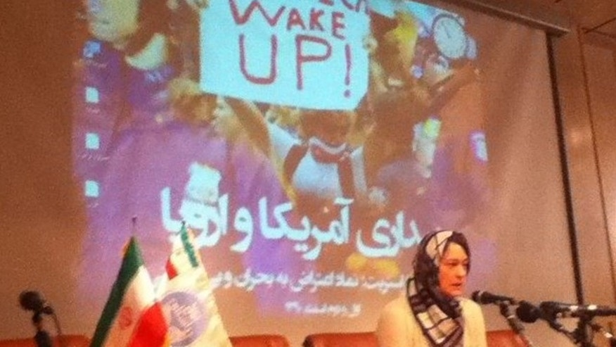 Fordham University professor Heather Gautney speaks at an Occupy Wall Street conference in Tehran last week.