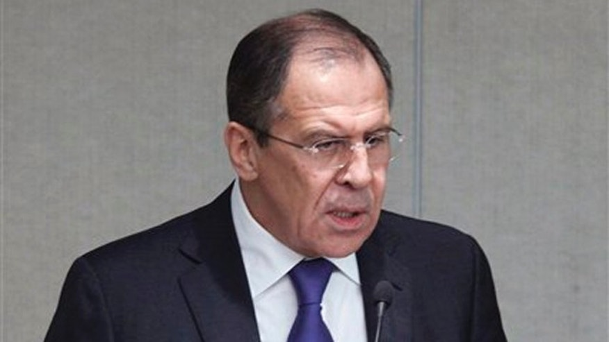 March 14, 2012: Russian Foreign Minister Sergey Lavrov speaks at the State Duma, the lower parliament chamber, Moscow, Russia.