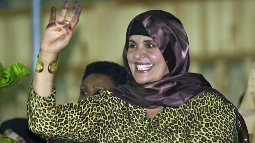 Sept. 1, 2003 file photo shows Safiya Qaddafi, wife of ousted Libyan leader Muammar Qaddafi.
