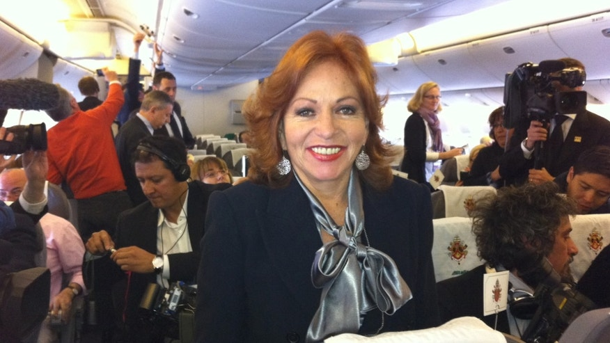 Valentina Alazaraki of Televisa on board the Pope's Alitalia flight to Mexico. (Photo: Greg Burke)