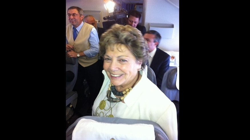 Paloma Gómez Borrero on board Pope Benedict XVI's flight to mexico. (Photo: Greg Burke)