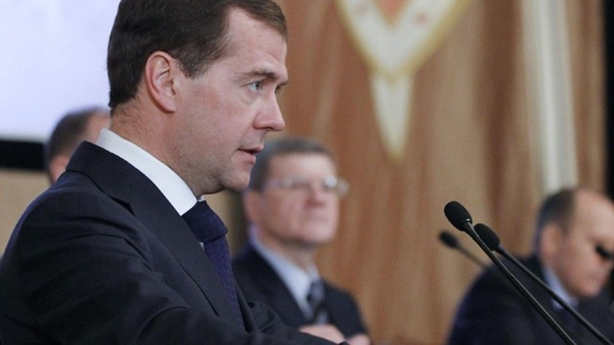 Feb. 7, 2012: In this file photo Russian President Dmitry Medvedev speaks at a meeting with top officials of the Federal Security Service (FSB) in Moscow.