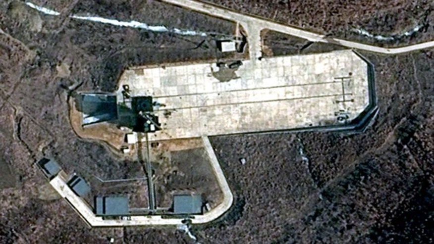 This March 28, 2012 satellite image provided by DigitalGlobe shows North Korea's Tongchang-ri Launch Facility on the nation's northwest coast. The image appears to show preparations beginning for a long-range rocket launch in North Korea despite international objections.