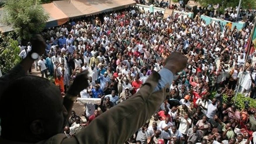 March 26: People chant in protest against the recent military coup, in Bamako, Mali.