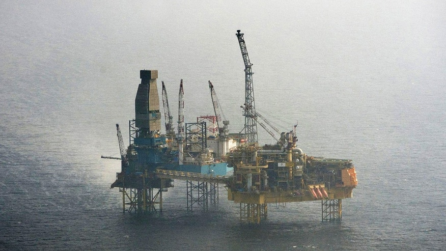 March 28, 2012: This aerial shot provided by Greenpeace shows Total's Elgin Wellhead Platform in the North Sea off the shore of Scotland.