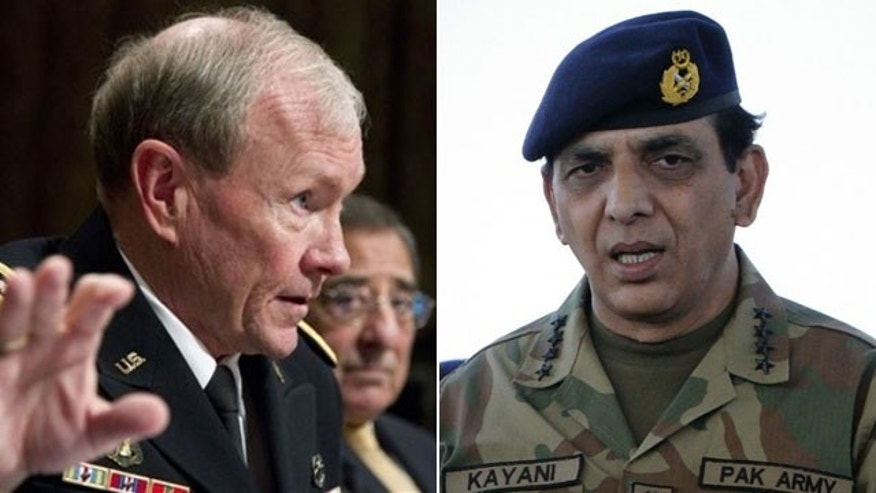 Seen are chairman of US Joint Chiefs of Staff Martin Dempsey (L) and Pakistan army chief Ashfaq Parvez Kayani (R)