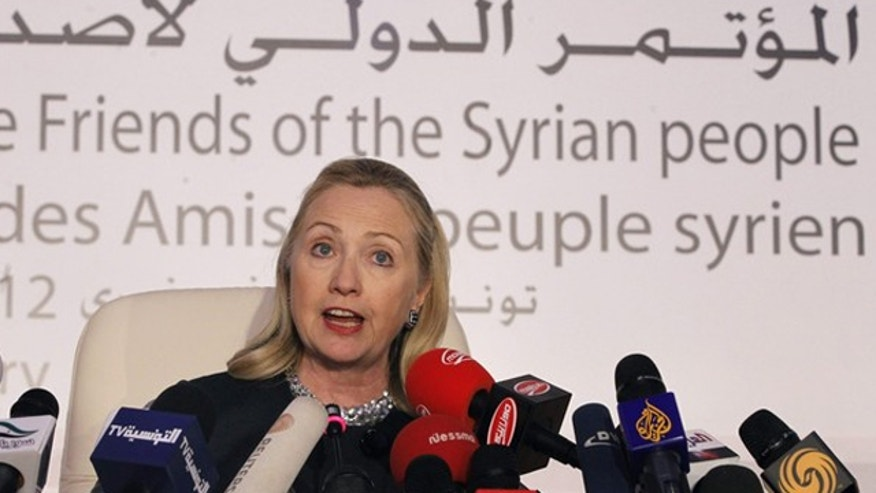 Feb. 24, 2012: U.S. Secretary of State Hillary Clinton speaks at a news conference following the Friends of Syria Conference in Tunis.