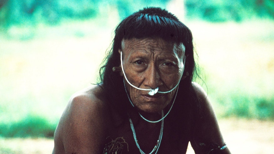 Yora man, Serejal River, S.E Peru, 1997. These people were first contacted in 1984 following oil exploration by Shell: up to half the population died.