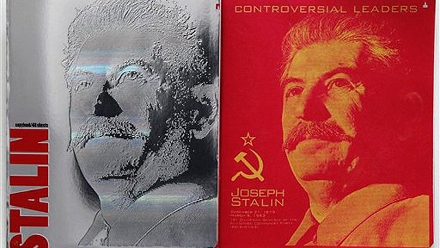 April 4, 2012: The cover, left, and first page of a notebook bearing a portrait of Soviet dictator Josef Stalin are displayed in Moscow. School notebooks with a portrait of Soviet dictator Josef Stalin on the cover have been causing a controversy in Russia since they went on sale this week.
