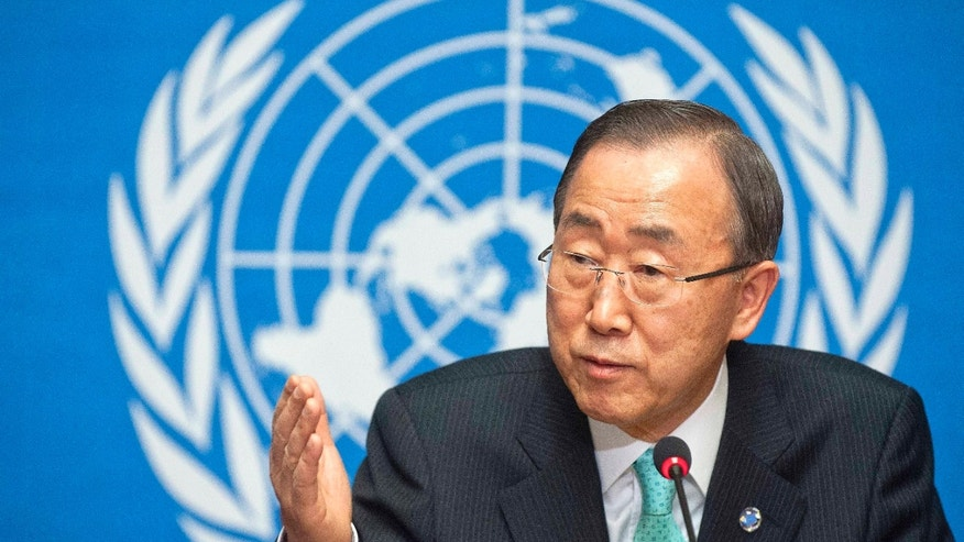 April 12: United Nations Secretary-General Ban Ki-moon speaks about the situation in Syria during a press conference at the European headquarters of the United Nations in Geneva, Switzerland.