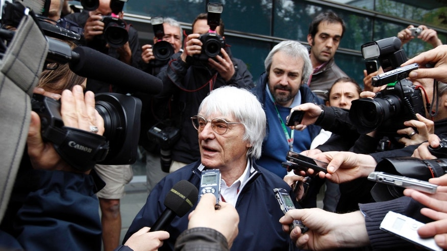 April 13, 2012: Formula One boss Bernie Ecclestone speaks to media after a meeting with team principals between practice sessions for the Chinese Formula One Grand Prix in Shanghai.