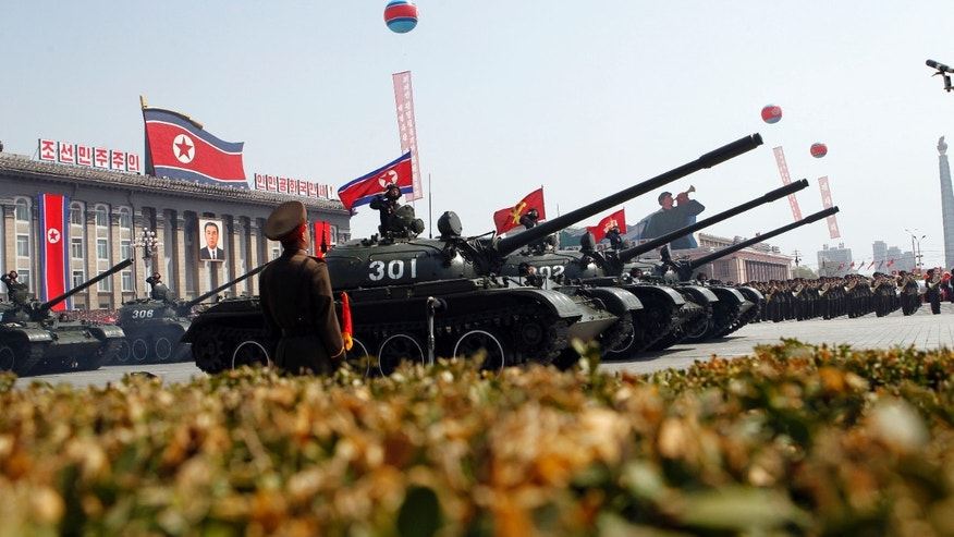 April 15: 2012: North Korean tanks take part in a mass military parade in Pyongyang's Kim Il Sung Square to celebrate 100 years since the birth of North Korea's founder Kim Il Sung.