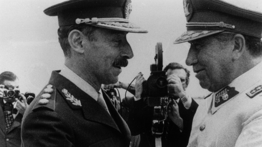 General Augusto Pinochet (right), the President of Chile with General Jorge Videla, the President of Argentina in Mendoza, Argentina.   (Photo by Keystone/Getty Images)