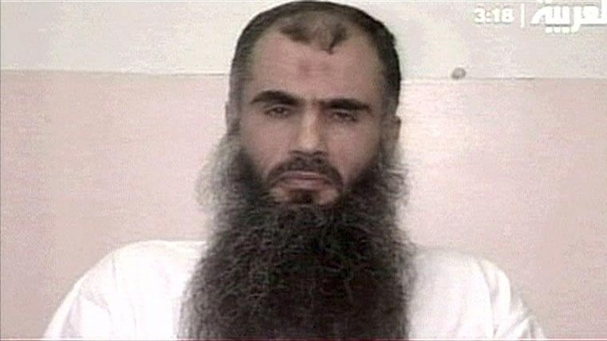 In this undated 2005 image made available by the British Prison Service, and aired by Arabic TV channels, shows Abu Qatada who makes a televised appeal from Belmarsh high security prison, in London calling for the release of hostage British Norman Kember being held in Iraq.