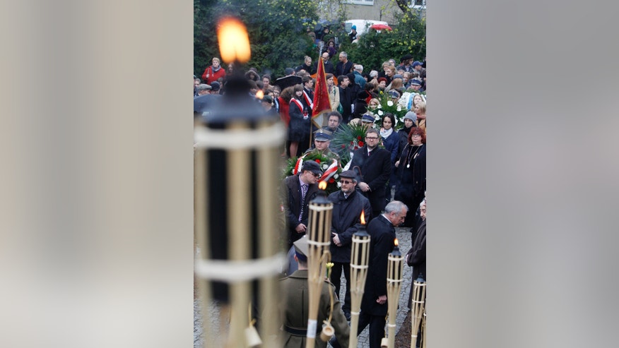 April 19, 2012: Members of Warsaws Jewish community, and city officials and others gather to mark the 69th anniversary of the doomed Warsaw Ghetto Uprising, in Warsaw, Poland.