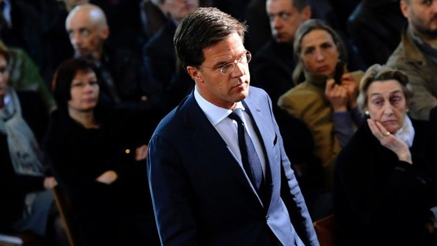 March 22: Netherlands' Prime Minister Mark Rutte arrives at a ceremony for the victims of a bus crash in Switzerland.