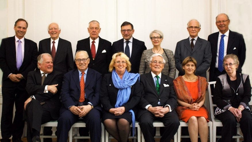 April 16: Current or former top politicians and diplomats pose for a picture prior to a formal dinner focusing on an ongoing environment conference, at Sweden's government headquarters in Stockholm. Margareta Winberg is sitting front right.