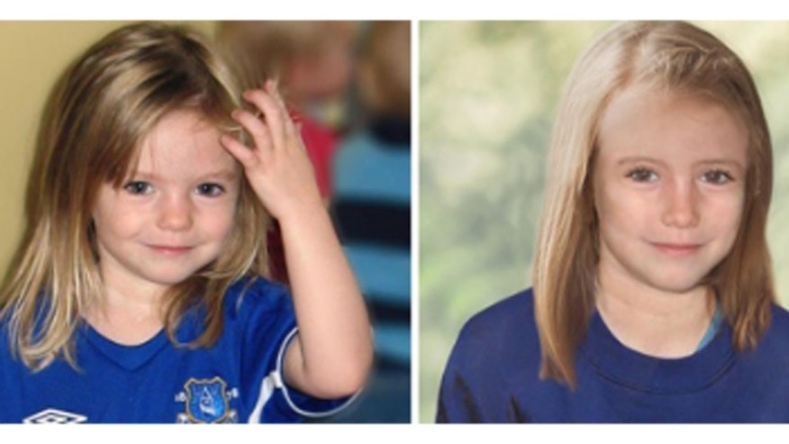 The Metropolitan Police shows a composite photo of four-year-old missing child Madeleine McCann and an age progression computer generated image of her at 9 years old.