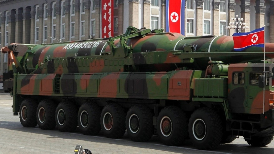 April 15, 2012: An apparent new missile is carried during a mass military parade at the Kim Il Sung Square in Pyongyang, North Korea, to celebrate the 100th anniversary of the country's founding father Kim Il Sung.