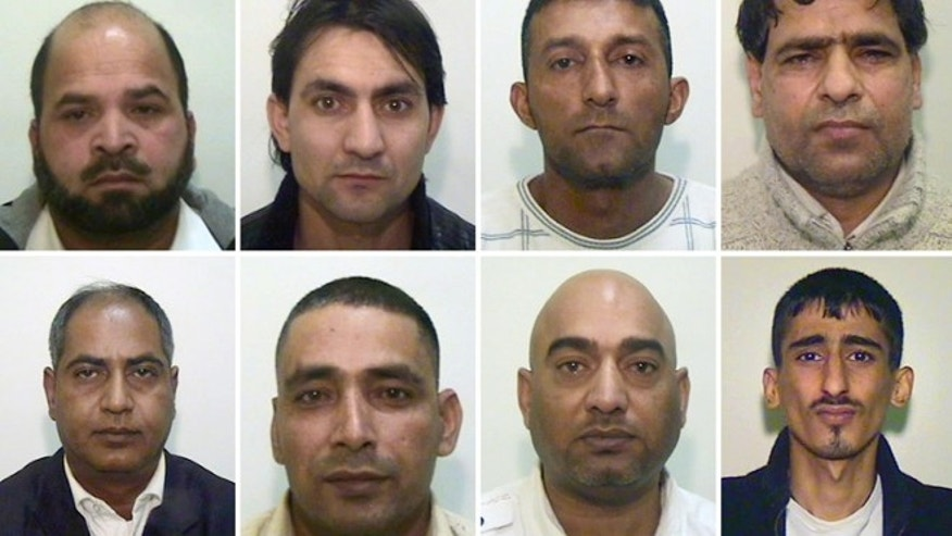 Undated handout composite image issued Tuesday May 8, 2012, by Greater Manchester Police showing eight of the nine men who have been convicted for luring girls as young as 13-years old into sexual encounters using alcohol and drugs, top row left to right, Abdul Rauf, Hamid Safi, Mohammed Sajid and Abdul Aziz, and with Bottom row left to right, Abdul Qayyum, Adil Khan, Mohammed Amin and Kabeer Hassan. The ninth man in the group, a 59-year-old man cannot be named for legal reasons.