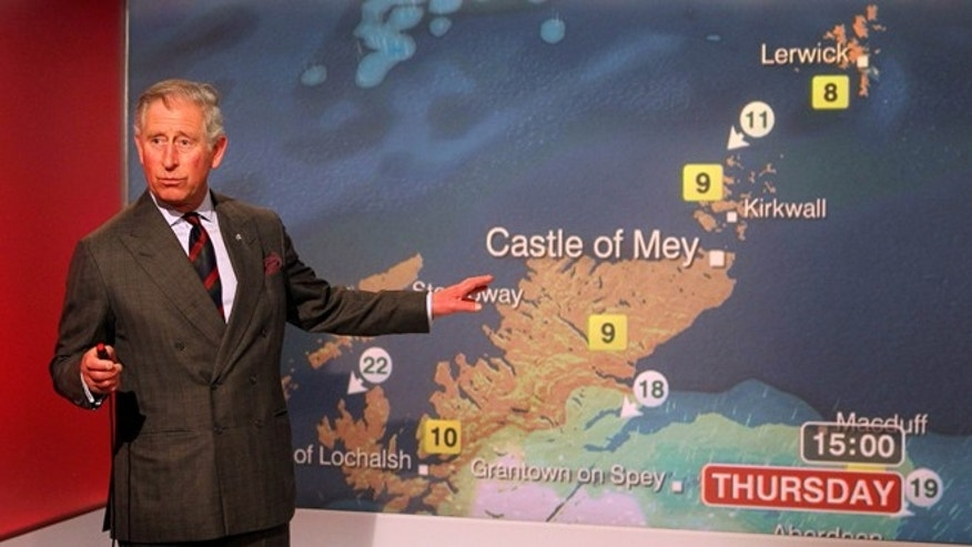 May 10, 2012: Britain's Prince Charles reads the weather in the Six O'Clock studio whilst on a tour of the BBC Scotland Headquarters in Glasgow, Scotland where they met staff to celebrate sixty years of BBC Scotland Television.