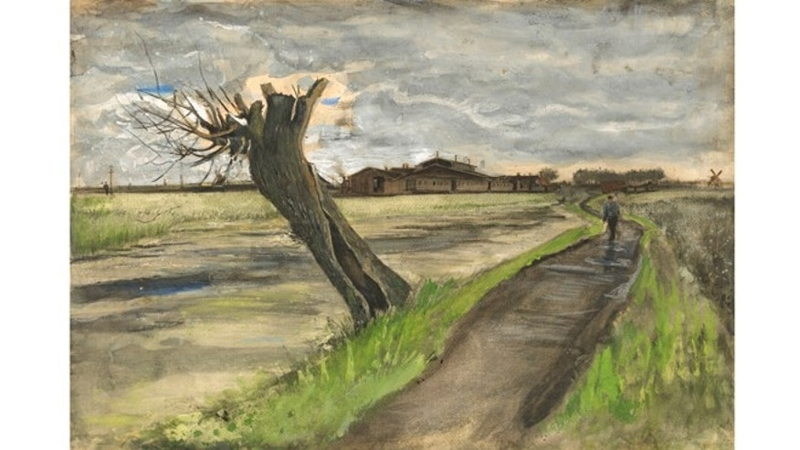 May 10, 2012: This photo released by the Van Gogh Museum in Amsterdam, Netherlands, shows an 1882 water color of a pollard willow by Vincent van Gogh from his early Dutch period.