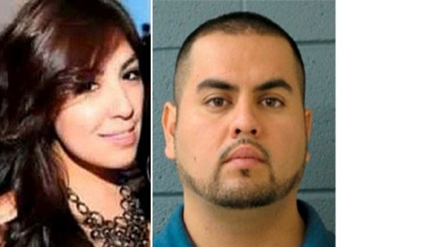 New bride Estrella Carrera, of Burbank, Ill. pictured on the left from her Facebook page, and a Police Department photo of murder suspect Arnoldo Jiménez. (AP Photo/Burbank Police Department)