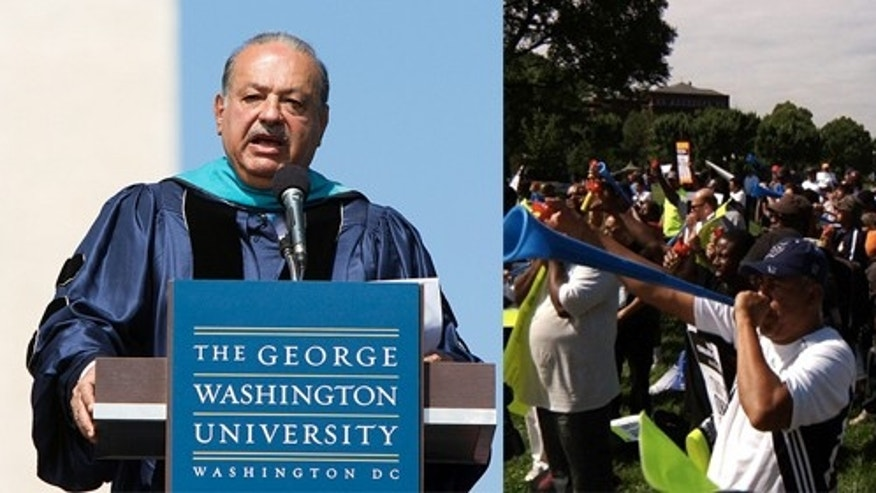 May 20: Combo photo includes Carlos Slim giving speech at George Washington University, and protestors from the organization Two Countries - One Voice who say they were about 100 yards away.