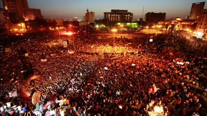 June 2, 2012: Egyptians gather at Tahrir Square in Cairo to call for a new revolution in Egypt after Mubarak was sentenced to life in prison provoking a new wave of anger.