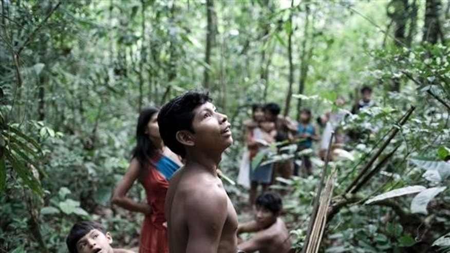 In this Aug. 2010 photo released in 2012 by Survival International, Awa Indians stand in a forest in Maranhao state, Brazil.