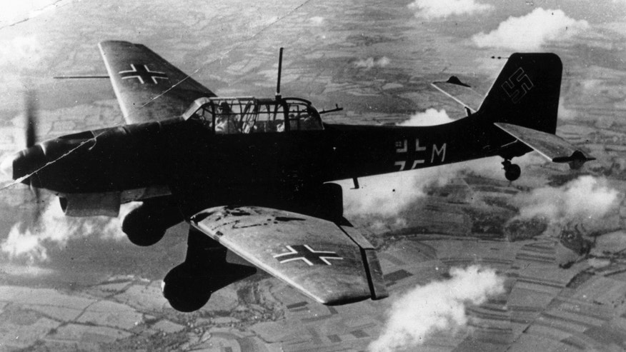 Nov. 1, 1940:  In this photo, a German dive bomber Junkers Ju 87 Stuka flies over an unknown location during World War II.