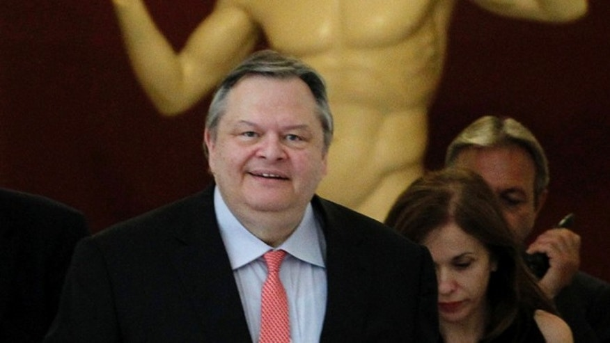 June 20, 2012: Evangelos Venizelos, the head of the Socialist PASOK party arrives the Greek Parliament to meet with leader of the New Democracy conservative party Antonis Samaras in Athens.