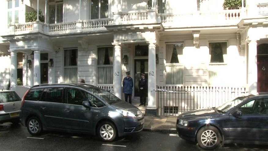 July 10, 2012: Police outside a house in Cadogan Place, Chelsea after the body of Eva Rausing, a member of the family behind the Tetra-Pak drinks carton empire and one of the richest women in Britain was found.