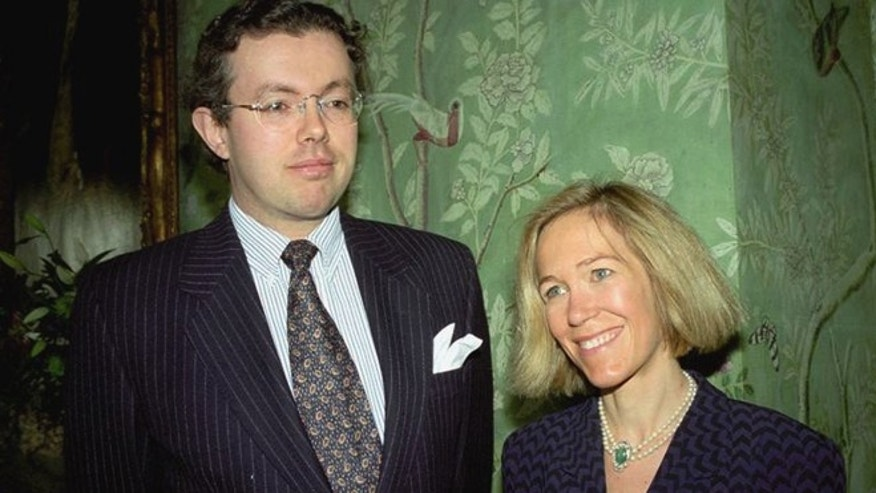 This photo of Nov. 26, 1996 shows Eva Rausing, right, and her husband Hans Kristian Rausing at Winfield House, London, the residence of the US ambassador to the UK attending the Glamour America Fashion Show and lunch.