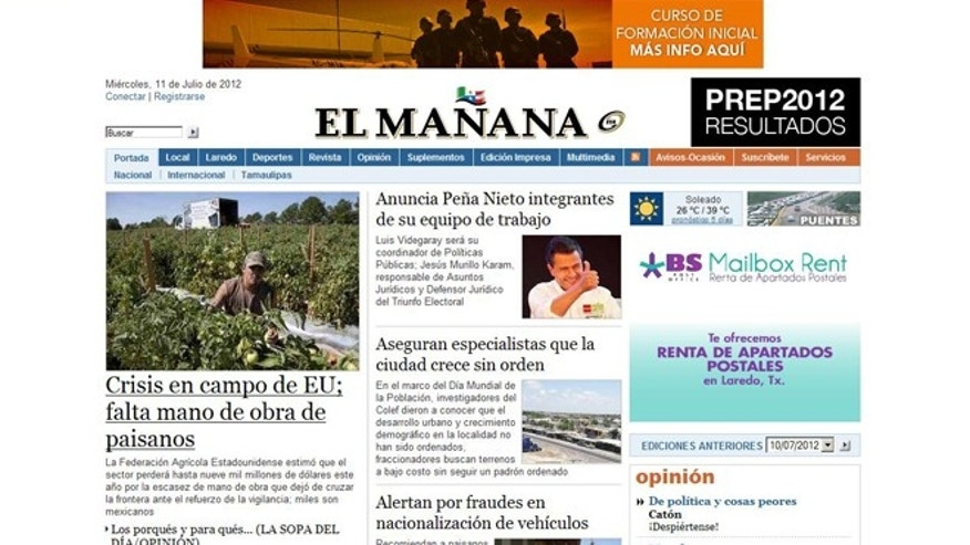 This screen grab, taken July 11, 2012, shows the website for Mexican newspaper El Manana.