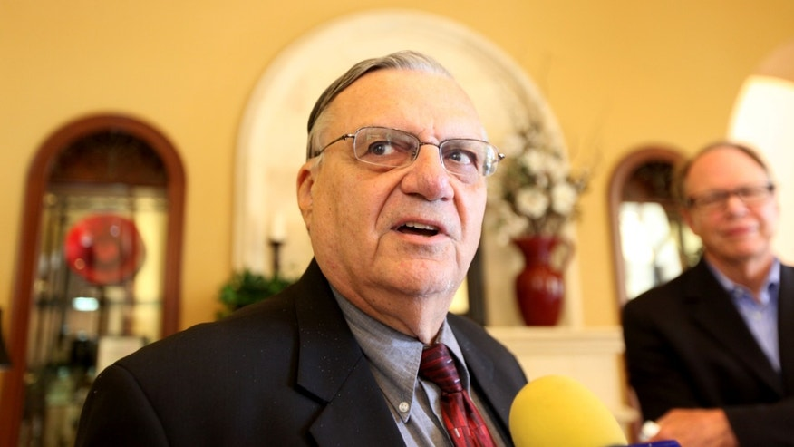 RANCHO BERNARDO, CA - AUGUST 10:  Sheriff Joe Arpaio speaks to members of the media  during a visit to the Rancho Bernardo Inn on August 10, 2010 in Rancho Bernardo, California.  Arpaio, who is Sheriff of Maricopa County in Arizona, gained national attention for using deputies to conduct raids to apprehend illegal immigrants and building large outdoor prison tents to house inmates.  (Photo by Sandy Huffaker/Getty Images) *** Local Caption *** Joe Arpaio
