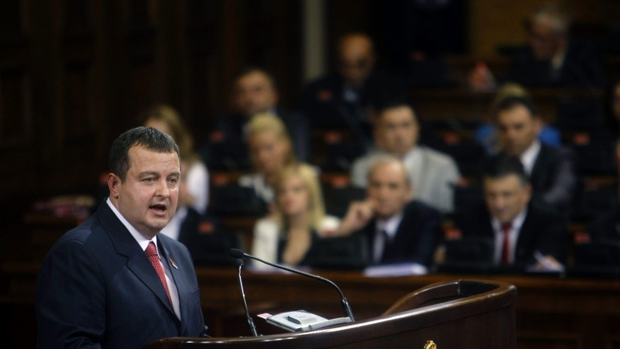 July 26, 2012- Serbia's prime minister designate, Ivica Dacic, speaks to members of the parliament in Belgrade, Serbia.