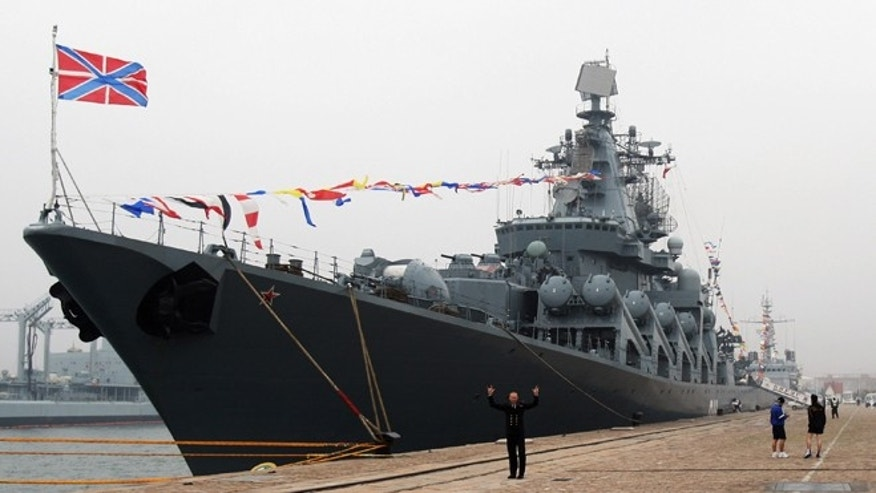 Russian missile cruiser Varyag docks at Qingdao Port t on April 20, 2009 in Qingdao of Shandong Province, China. (Photo by Guang Niu/Getty Images)