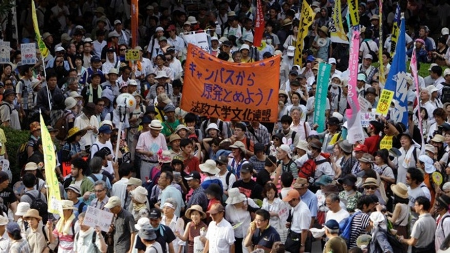July 29, 2012: Protesters gather during an anti-nuclear demonstration in Hibiya park in central Tokyo.