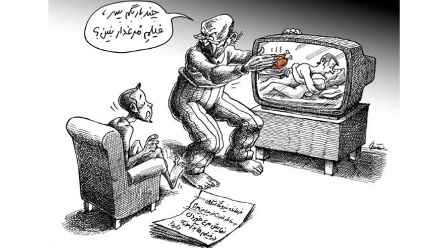 A recent editorial cartoon in Iran mocks the government for trying to block images of chicken on TV, as if poultry were racier than pornography.