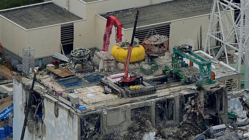July 18, 2012: This aerial view shows the damaged No. 4 reactor building at Tokyo Electric Power Co.'s Fukushima Dai-ichi nuclear power plant in Okuma town, Fukushima prefecture, northeastern Japan.