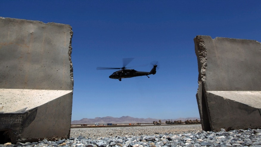 May 23, 2012: A Black Hawk helicopter is seen in this file photo takkng off from Forward Operating Base Apache in Afghanistan's Zabul Province.