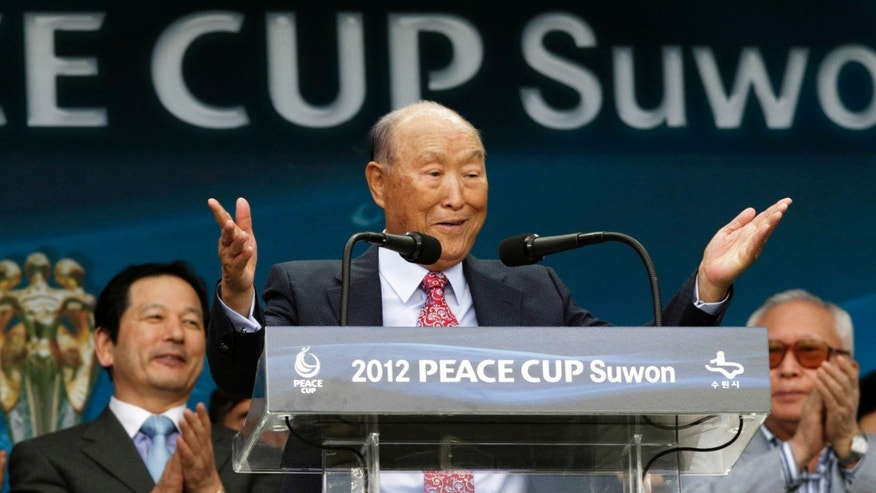 July 19, 2012:  In this file photo, Rev. Sun Myung Moon, the controversial founder of the Unification Church, speaks during the opening ceremony of the 2012 Peace Cup Suwon at Suwon World Cup Stadium in Suwon, South Korea.