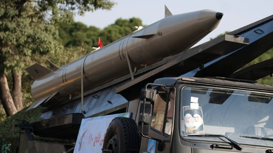 Sep. 23, 2011: An Iranian-made Fateh-110 missile on display during a war exhibition at Baharestan square in southern Tehran.