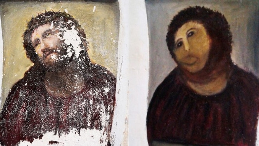 This combination of two undated handout photos shows the 20th century Ecce Homo-style fresco of Christ before (left) and after (right).
