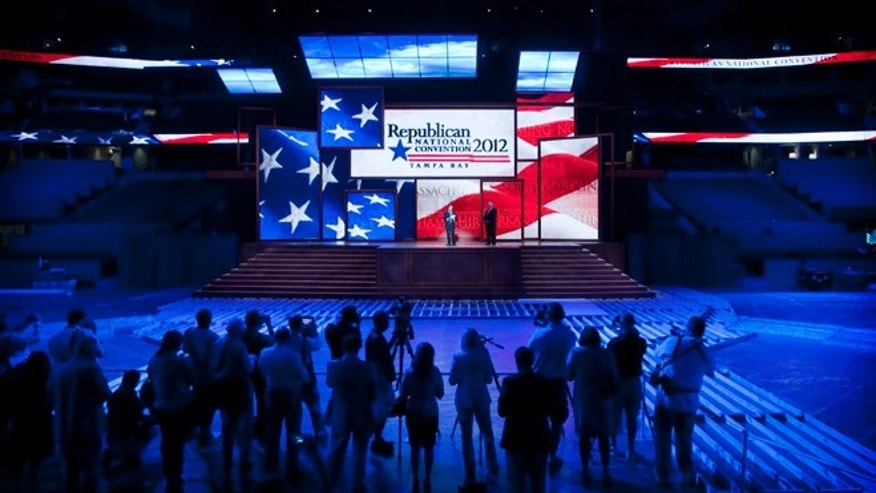 Aug. 20, 2012: Republican officials unveil the stage built into the Tampa Bay Times Forum for the Republican National Convention.