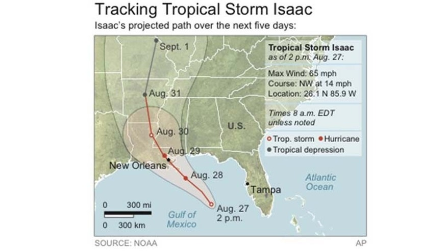 Map locates Tropical Storm Isaac and its projected path.