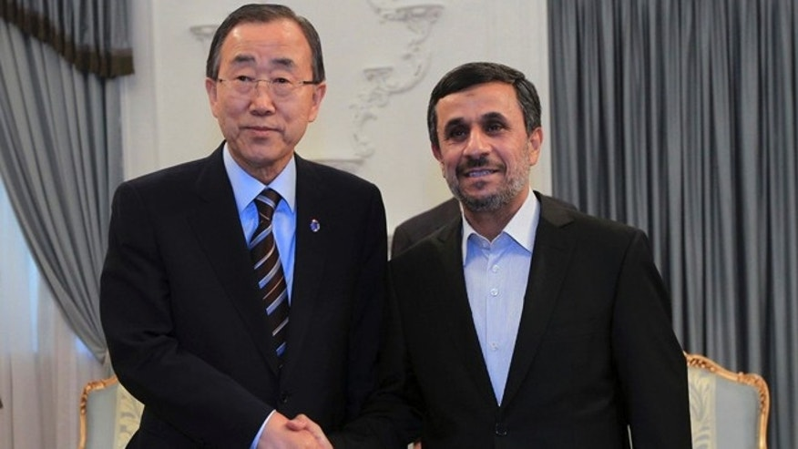 August 29, 2012: In this photo released by the official website of the Iranian Presidency Office, Iranian President Mahmoud Ahmadinejad, right, shakes hands with U.N. Secretary-General Ban Ki-Moon, at the start of their meeting in Tehran, Iran, Wednesday.