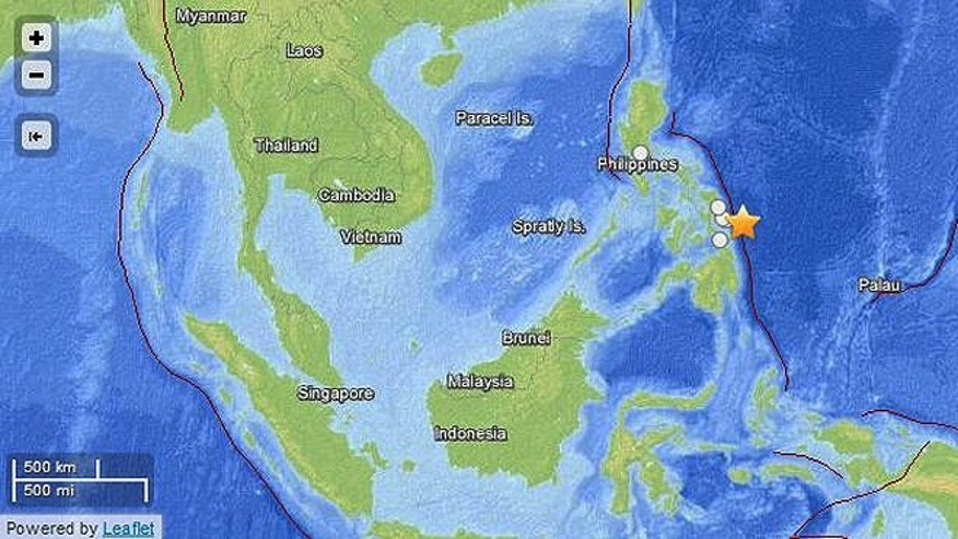 A 7.9-magnitude undersea quake struck off the eastern coast of the Philippines late Friday, the epicenter indicated on this map by a star.